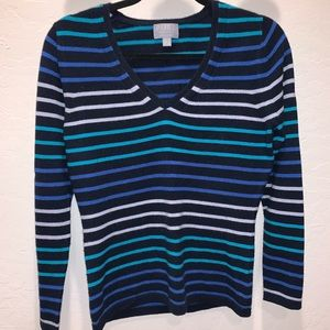 100% Cashmere Blue Striped Pullover Sweater